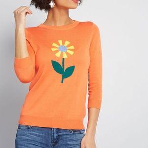 ModCloth Charm School 3/4 Sleeve Flower Sweater